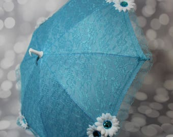 Girl's Blue Lace Sun Umbrella with White Flower - Flower Girl Parasol - Tea Party Sun Shade Parasol - Photo Prop - 17026