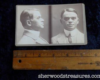 1914 New York Police Department Criminal Saleman MUG SHOT  Man In Highly Starched Collar CDV Antique