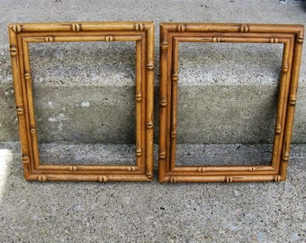 solid wood frame pair bamboo look chinoiserie mid century asian decor