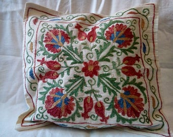 Hand silk embroidered suzani pillow. Accent pillow