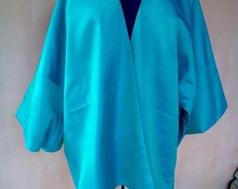 Uzbek turquoise blue silk ikat jacket. Uzbek chapan, Bekhasam kaftan, tribal ethnic robe, silk cardigan