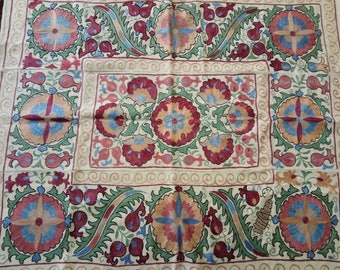 Uzbek silk hand embroidered suzani. Wall hanging, table runner, bed cover suzani. Pomegranates and medallions suzani. SW028
