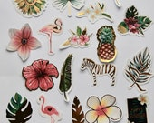 Gold Foil Tropical Stickers