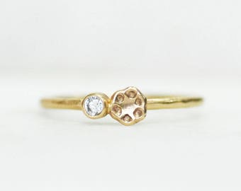 Skinny Diamond Poppy Ring - 1.3mm Gold Stacking Ring - Eco-Friendly Recycled