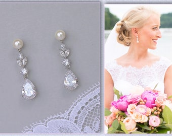 Bridal Earrings, Crystal Earrings, Teardrop Earrings, Wedding Earrings, Pearl Earrings, Crystal Bridal Jewelry, ASHLEY PP