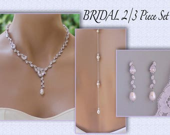 Bridal Jewelry Set, Silver Earrings & Necklace Set, Back Drop Option, Crystal and Pearl wedding Set, Wedding Jewelry Set, ANAÏS