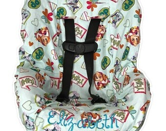 Toddler Car seat Cover made with Paw Patrol fabric including Skye & Everest dogs Free Name Embroidery