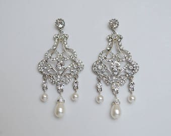Bridal Chandelier Vintage Style Filigree Stud Earrings with Swarovski Pearls and Swarovski Bicone Crystals Rachel Ships in 1-3 Business Days