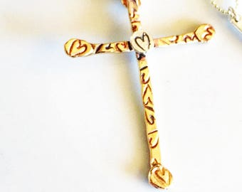 Gold Cross Necklace-New Gold-Brass Cross-Heart Detail