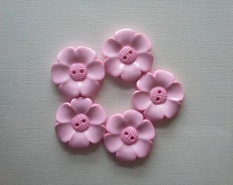 SALE Lot of 5 Flower Buttons - 40mm-  Baby Pink WAS 5.00 NOW 4.00
