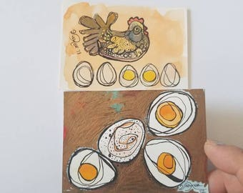 Big Nest - SET of two original aceo drawings