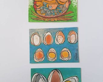 Big Nest - SET of three original aceo drawings