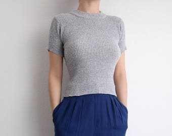 VINTAGE Knit Tee 1990s Ribbed Tshirt Gray Shortsleeve XS
