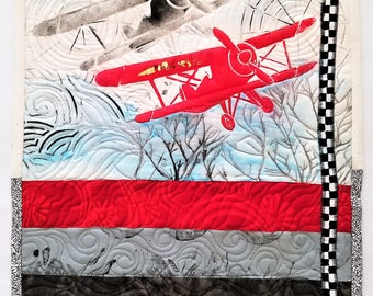 Air Plane Wall Hanging Bi Plane Fabric Art Wall Art Quilt Modern Design Wall Hanging One-of-a-Kind Design Gift for Pilot Gift for Him