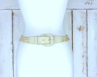 Vintage tan/light brown elastic stretch chord suede leather buckle belt/woven jute twine chord elastic belt/large