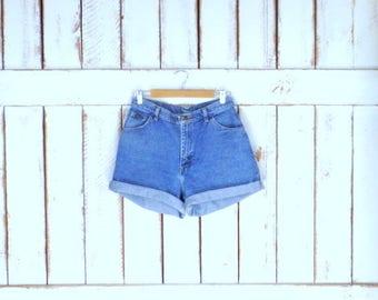 "Vintage 90s Wrangler high waisted blue denim jean shorts/waist 31"""
