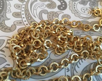SALE Vintage Style Fluted pattern repurposing chain 5mm sturdy Cable chain Matte Brushed Gold plating Steam Punk 1 foot