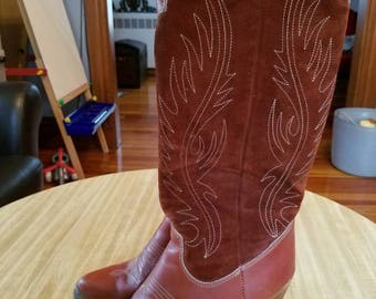 Vintage Zodiac Cowboy Boots Dancing Boots Burnt Sienna Suede and Leather Trim Leather Size 10 Ladies 1970s Made in the USA High Heels