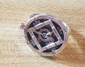 Vintage Sterling Silver Steampunk Clock Watch Ring Size 7.75