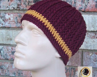 Beanie in Team Colors - Washington - Burgundy & Gold Colors - Unisex or Mens Size M/L - Hand Crocheted - Soft Warm Acrylic Yarn - Nice Gift