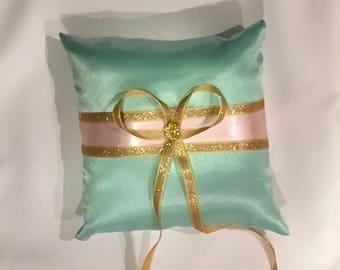 wedding ring bearer pillow custom made pink on light aqua turquoise  satin