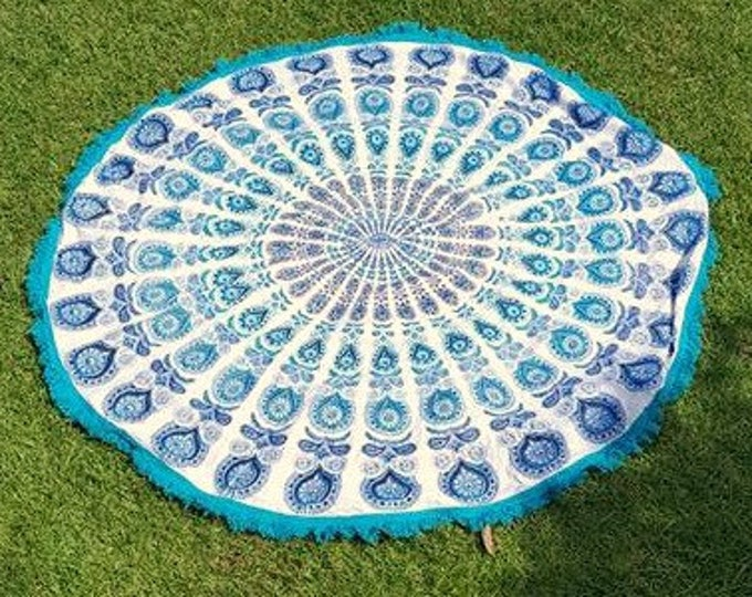 Classic Blue and White Peacock Mandala Roundie with Turquoise Fringe Beach Blanket Yoga Mat Meditation Mat Dorm Decor Hippie Tapestry