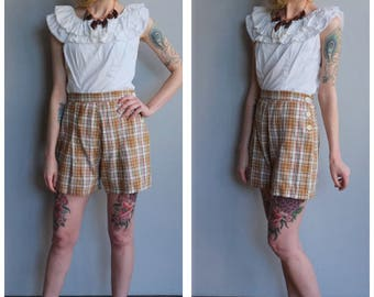 1930s Shorts // Cotton Plaid Summer Shorts // vintage 30s shorts
