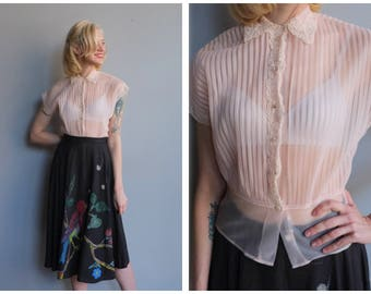 1950s Blouse // DebCraft Nylon Sheer Blouse // vintage 50s blouse