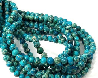 Impression Stone, 4mm, Aqua Blue, Bright Blue, Round, Smooth, Mixed Color, Multicolored, Gemstone Bead, Very Small, 16 Inch Strand - ID 2248