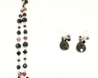 Black beaded necklace and earring set vintage womans jewelry