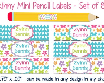 Skinny Pencil Labels, Waterproof stickers, Waterproof labels, Name Labels, Dishwasher Safe Daycare Label, School Labels, Girl Pencil Labels