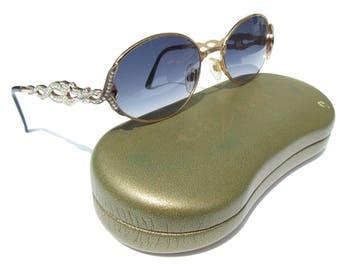 Vintage Caviar Sunglasses with Rhinestone Dragon Arms Gold Tone Frames with Black Tips, Vintage Designer Sunglasses