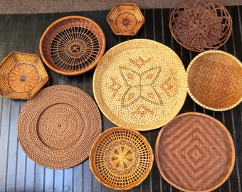 Vintage set of 9 Wicker Baskets for Basket Collage Wall Dark Brown Straw Rattan Wall Baskets