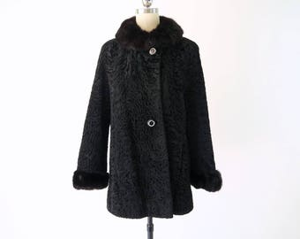 1950s Black Persian Lamb w Mink Collar Coat / Vintage Fur Coat
