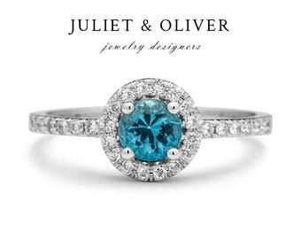 Aquamarine Engagement Ring - Gold Aquamarine Ring - Aquamarine Engagement Ring White Gold - Aquamarine Diamond Ring - Anniversary Ring