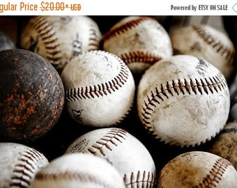 FLASH SALE til MIDNIGHT Vintage Baseballs No. One, Photo Print ,Decorating Ideas, Wall Decor, Wall Art,  Kids Room, Nursery Ideas, Gift Idea
