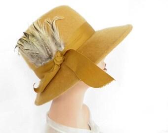 Gold fedora hat, 1960s vintage, felt, feathers