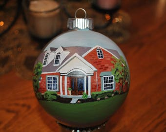 Hand Painted Custom Treasured ornament to remember the home we raised our children in. sold