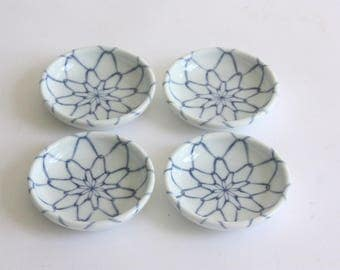 Set of 4 Vintage Blue and White Ceramic Sauce Dishes, Salt Cellars