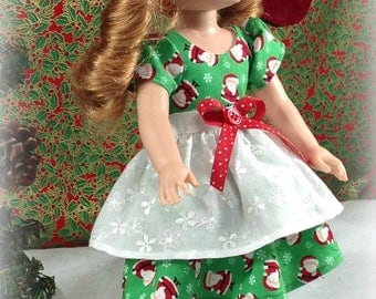 14 inch Doll Clothes-made to fit Wellie Wisher like AmericanGirl-Green Santa Christmas Dress with Apron