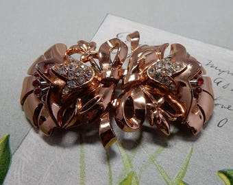 CORO DUETTE Signed Copper Tone Flower Dress Clips or Brooch   OEL5