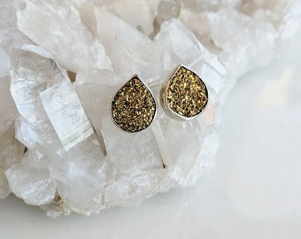 Titanium Druzy and Sterling Silver Stud Earrings - druzy earrings - gold druzy earrings - druzy studs - shimmery earrings - sparkly earrings