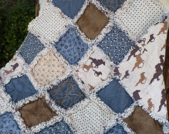 Baby Rag Quilt Baby Boy Crib Quilt Baby Cowboy Quilt Western Baby Nursery Bedding Rodeo Horses Denim Blue Tan Brown Ready to Ship