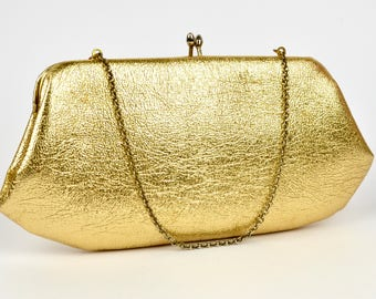 50s-60s gold leather handbag | vintage small convertible clutch purse | chain handle evening bag with kiss clasp