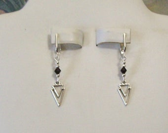 Tibet Silver Small Double Triangle Arrowhead Black Clip On Earrings or Pierced 20 Colors Available