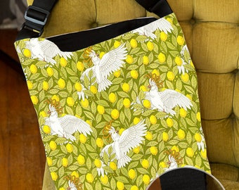 Lined Tote Bag with Inside Zipper Pocket and Adjustable Handle, Cockatoos and Lemons, Art Nouveau, Book Bag, Grocery Bag, Shopping Bag