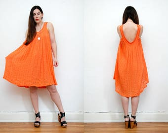 Vintage Indian Gauze Cotton Grecian Cheese Cloth Boho Low back Backless Tunic Smock Navajo Hippie Maxi Dress