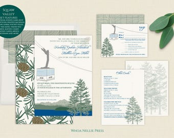 Squaw Valley Ski Mountain Wedding Invitations - Lake Tahoe - Gondola/Tram Wedding Invitations - Customizable to Your Venue