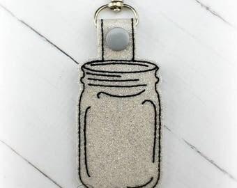 Mason Jar Snap Tab Key Fob Embroidery Design