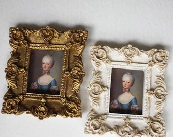 Miniature Portrait of Young Marie Antoinette Choice of Frame Color Dollhouse 1:12 scale